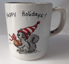Vintage Suzys Zoo Christmas Squirrel Mug Happy Holidays Spafford Enesco ... - $14.95