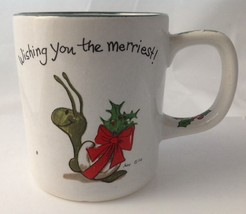 Vintage Suzys Zoo Christmas Snail Mug Wishing Your Merriest Spafford Ene... - $14.95
