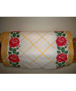 Vintage STYLE Kitchen Towel Fabric MODA HOME  Kitchen Red Roses Yellow Toweling - $8.99