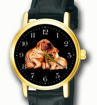 SHAR PEI, SHARPEI, THE WRINKLED DOG, VINTAGE ART 30 mm UNISEX BRASS WRIS... - $56.87