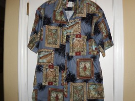 Hilo Hattie Hawaiian Button Front Shirt In Blue Mens Size Small - $16.82