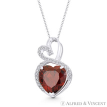 Faux Garnet Red & Clear CZ Crystal 14k White Gold 22mmx13mm Double-Heart Pendant - $205.19