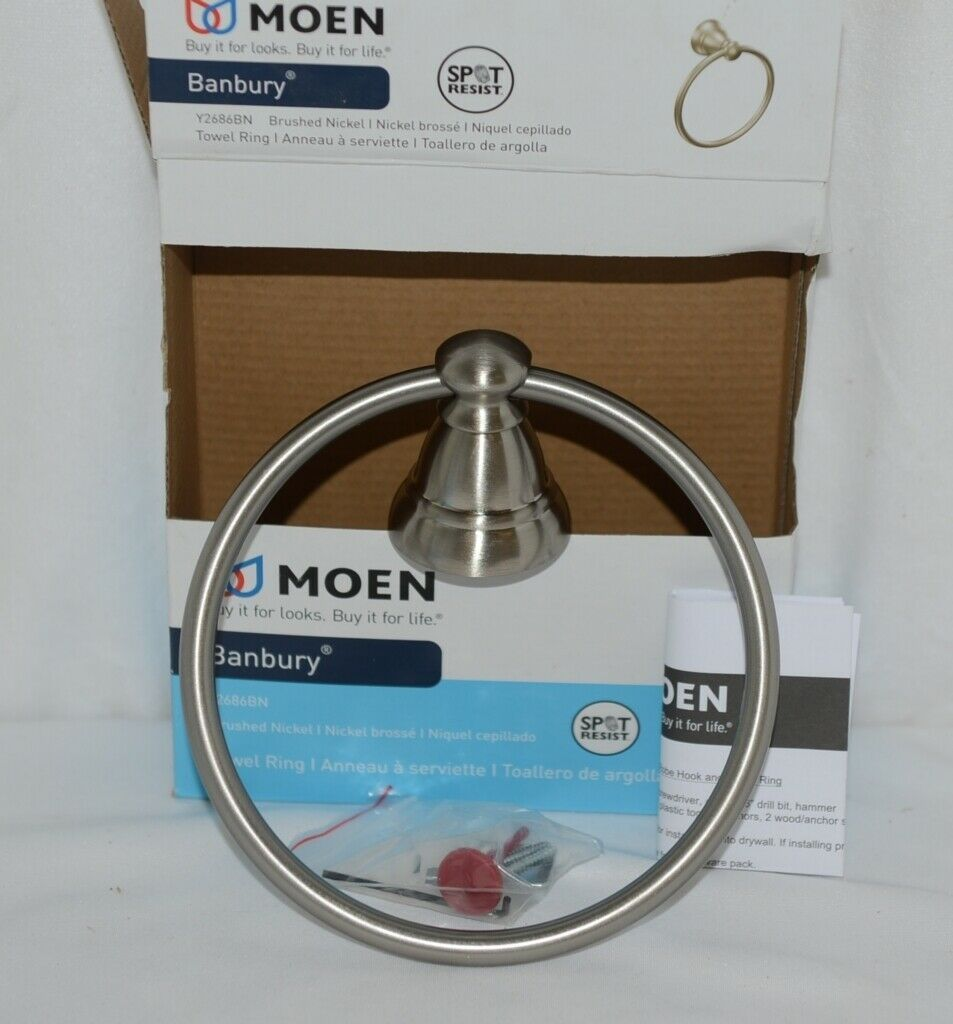 Moen Y2686BN Banbury Collection Brushed Nickel Towel Ring Spot Resist