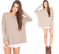 Authentic Piko Bamboo Latte Sexy Taupe Loose Long Sleeve Top Boxy Boat N... - $22.05