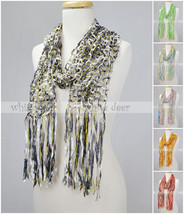 "82"" Long Fishnet Tie Dye Scarf Gold Thread Multi Color Crocheted Bling Fringe - $6.45"