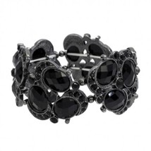 Cuff Bracelet Black Crystals Rhinestones Stretch Style Fashion Jewelry - $12.86