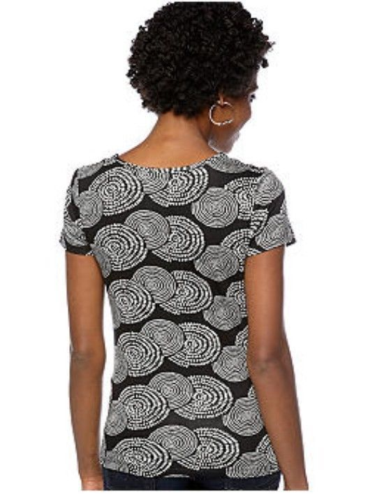 Cable & Gauge Draped Scoop Neck Black White Spiral Circles Rayon Jersey Top S M