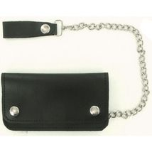 Biker Wallet 100% Leather - 6 Inch Wallet with Chain Loop-Black-Made in the USA - $17.50