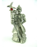 """CCI 6314 2 1/2"""" Tall Pewter Wizard Figure with Red Jeweled Scepter Signed  - $12.82"""