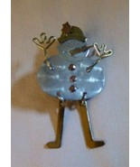 Vintage 1970s Silver Brass & Copper Frosty the Snowman Pin Moveable Wigg... - $35.00