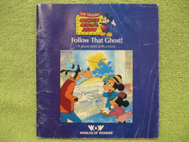 TALKING MICKEY MOUSE BOOK Follow That Ghost VINTAGE 1986 Worlds of Wonde... - $10.99