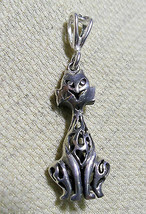 """925 Sterling Silver Bali Cat Pendant 1 5/8 """" Hallmarked In The Uk - $37.23"""