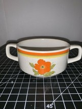 Vintage Lenox Temperware Fire Flower Double Handle Soup Sugar Bowl Orange Floral - $10.39