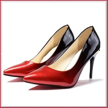 Red Gradient Black Shiny Patent Leather Classic Stiletto High Heel Pumps image 3