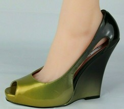 Jessica Simpson pensly women's wedge heels shoes green open toe size 10B - $24.97
