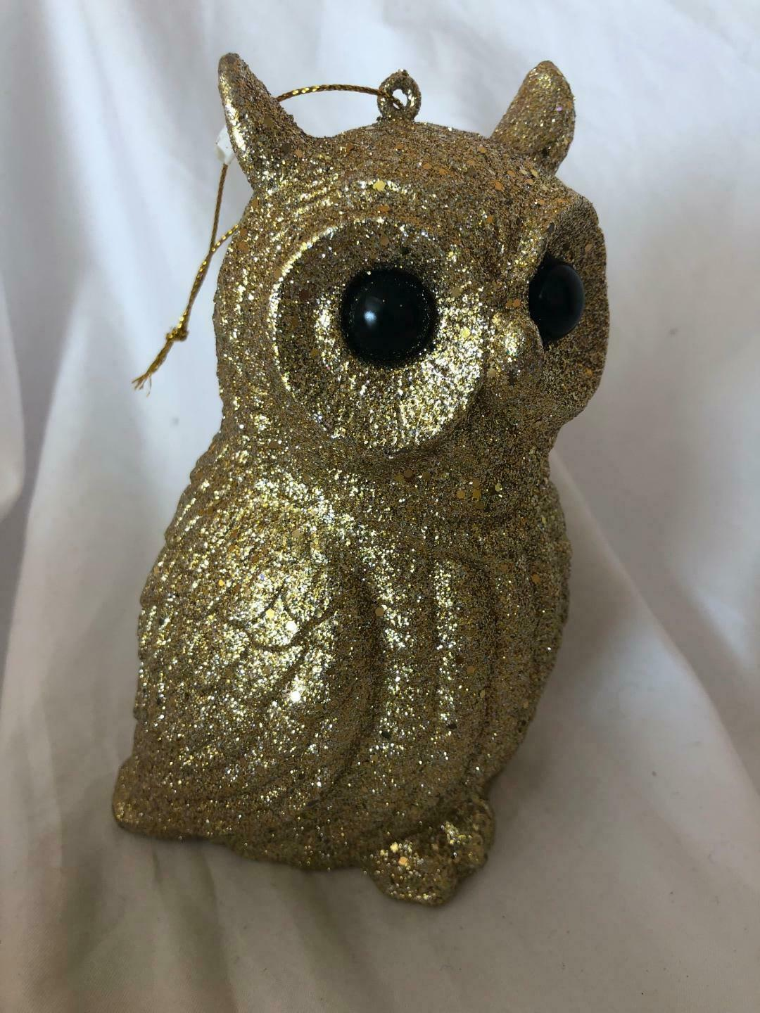3 Owl Figurines Christmas Set Ornaments Silver and Gold