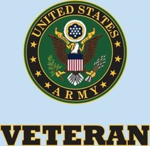 """Veteran with U.S. Army Crest 3.75""""x3.5"""" Decal - $10.35"""