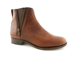 New FRYE Company Size 6.5 CARLY ZIP Cognac Broen Chelsea Ankle Boots 6 1/2 - $119.00