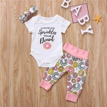 2019 Newborn Infant Baby Girls Donuts Floral Romper Long Pants Outfits C... - $8.99