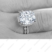 9mm Cushion Cut White Diamond 14k White Gold Over Art Deco Engagement Ring Set - $119.99