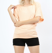 Striped Dolman Top, Dolman Sleeve Top, Orange w Heather Beige, Colbert Clothing
