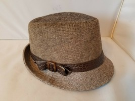 Nine West Women's Fedora Hat Gray Textured Snakeskin Ribbon One Size - £26.02 GBP
