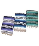 "Traditional 3 Pack Falsa Mexican Tourist Blanket Yoga Picnic Throw 58"" X... - $22.77"