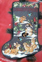 Janlynn Woodland Creatures Deer Raccoon Birds Cross Stitch Stocking Kit 125-06 E - $87.95