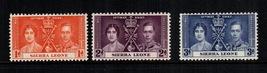 1937 Coronation Set of 3 Sierra Leone Postage Stamps Catalog Number 170-72 MNH