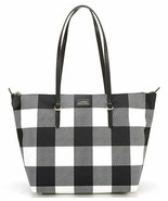 Lauren Ralph Lauren Chadwick Nylon Plaid Zip Shopper Tote Black Gingham NWT - $98.99