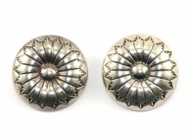 VTG SOUTHWESTERN BUTTON SHAPED CLIP ON EARRINGS 925 STERLING ER 543 - $43.99