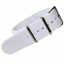 20mm X 255mm Nato Canvas Nylon wrist watch Band strap WHITE P2 - $10.42