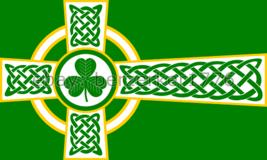Celtic Cross Green Shamrock 3'x5' Flag - Sun Odin's Cross - USA Seller Shipper - $25.00
