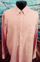 Club Room mens button down long sleeve shirt size Large pinstriped salmon - $15.68