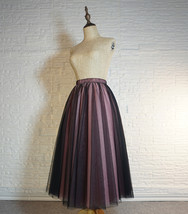 Women Black Pink Long Tutu Skirt Outfit High Waist Tulle Party Skirt Plus Size image 6