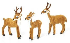 "3 pc 4.5"" Mini Felt Deer Decorative Figurines Christmas Farmhouse Decoration NEW"