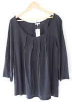 NWT Splendid Black Relaxed Oversized Cotton Modal 3/4 Sleeve Top Shirt M... - $56.00