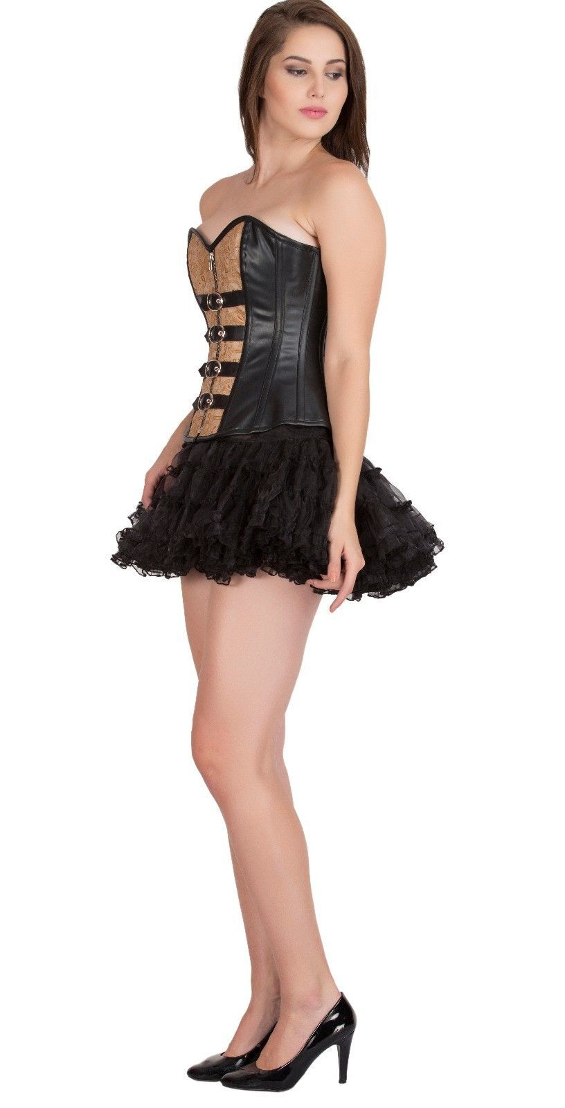 Black Printed Brown Faux Leather Halloween Costume Bustier Overbust Corset Top