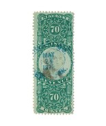 1872 R143 70c Third Issue, Washington, U.S. Internal Revenue, Green & Black - $41.99
