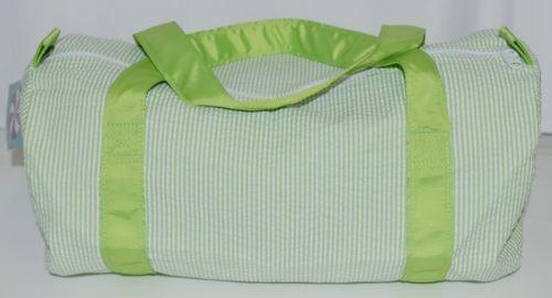 Oh Mint 1020909STRIPE Lime Green and White Stripe Seersucker Medium Duffel Bag