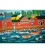 Folk Art Painting of beautiful town of Lunenburg Nova Scotia in the Mar... - $44.00