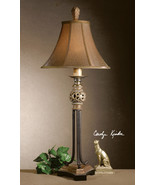 VINTAGE FRENCH CAFE AGED GOLD LEAF BLACK CRACKLE TABLE LAMP SILKEN SHADE  - $193.60