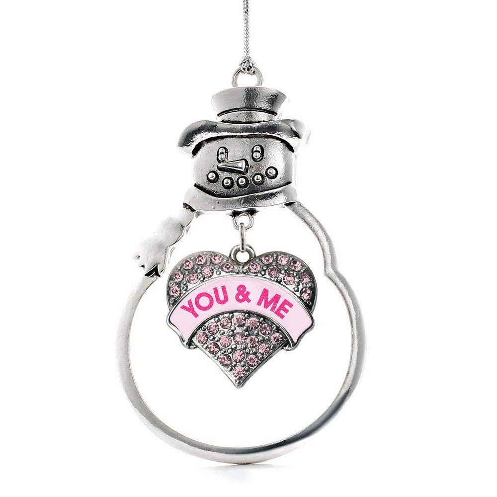 Inspired Silver You & Me Candy Pink Pave Heart Snowman Holiday Ornament - $14.69