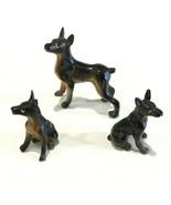 "Set of 3 Vintage Hard Plastic Doberman Pinscher Dogs 1-1/2"" & 2-1/2""  - $9.99"