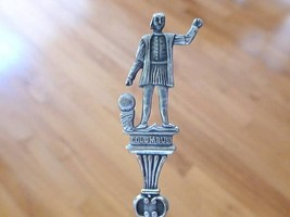 Figure Christopher COLUMBUS Sterling Silver Souvenir Spoon LANDING IMAGE... - $19.99