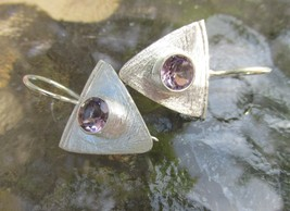 Sale, Very Beautiful Amethyst Earrings, 925 Silver, Handmade  - $28.00