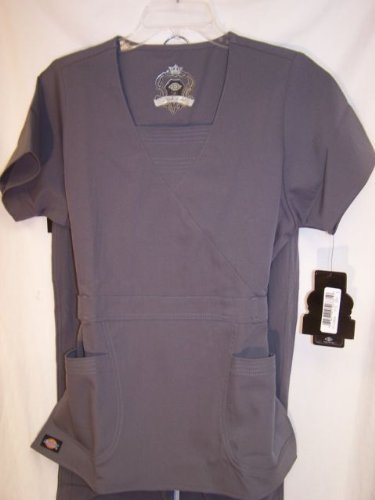 Primary image for Dickies Black Label 4 Way Stretch Nurses Scrub Top 17113 Silver 2XL (PB100)