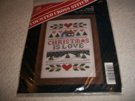 Christmas Is Love Cross Stitch Kit: Comes with Fabric, Floss, Needle & D... - $8.00