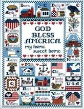 "Counted Cross Stitch Kit God Bless America 12"" x 16"" finished size (PB21) - $24.99"