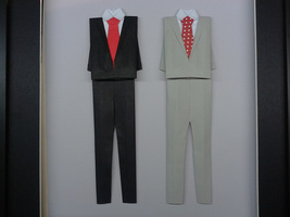 Origami Suit For Anniversary, Wedding, Valentine Gift For Gay Marriage - $80.00